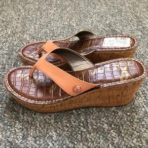 Sam Edelman Romy cork wedge thong sandals Size 7